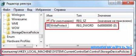 Защита USB через реестр