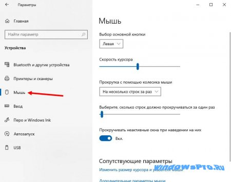 настройка мыши windows 10
